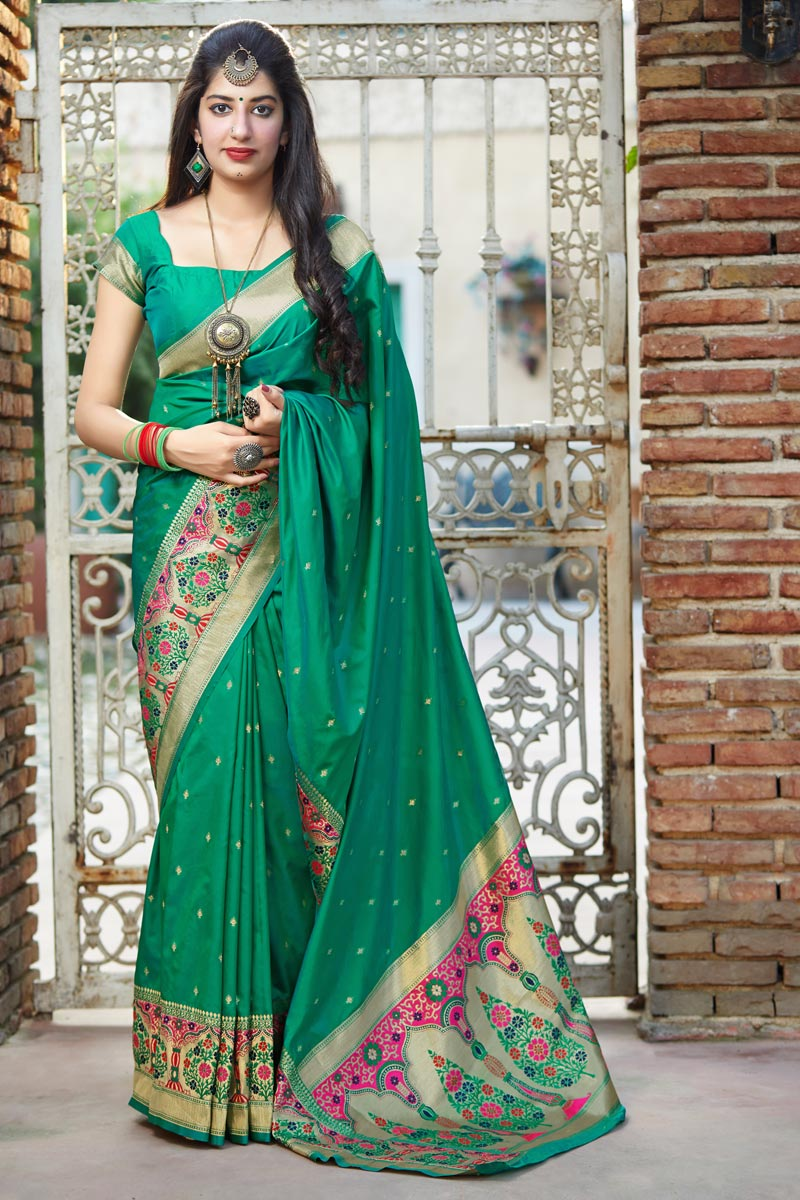 Green Color Party Wear Chic Weaving Work Saree In Art Silk Fabric