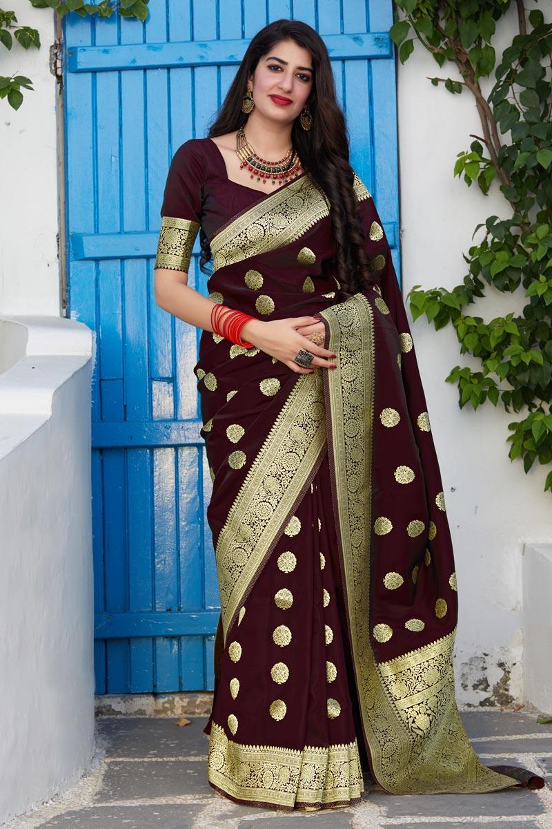 Banarasi Silk Fabric Function Wear Trendy Weaving Work Saree In Maroon Color