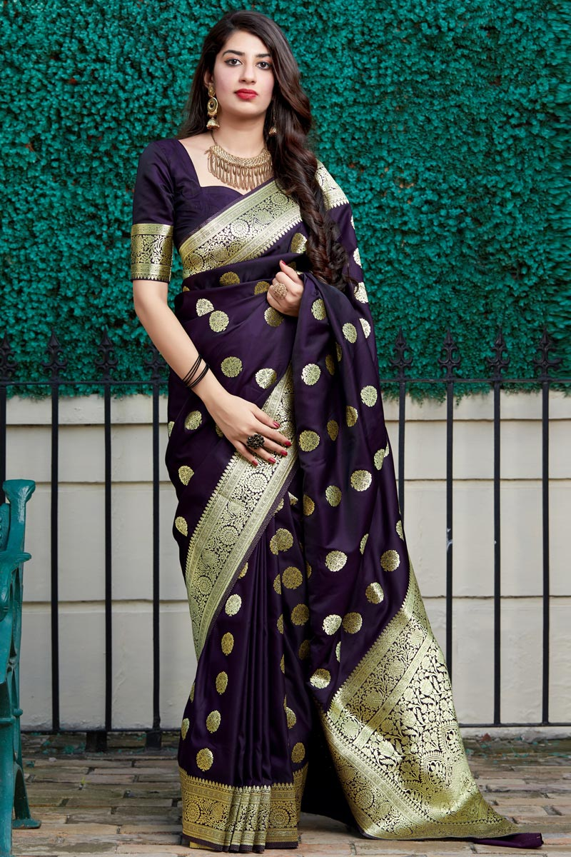 Function Wear Purple Color Trendy Banarasi Silk Fabric Weaving Work Saree