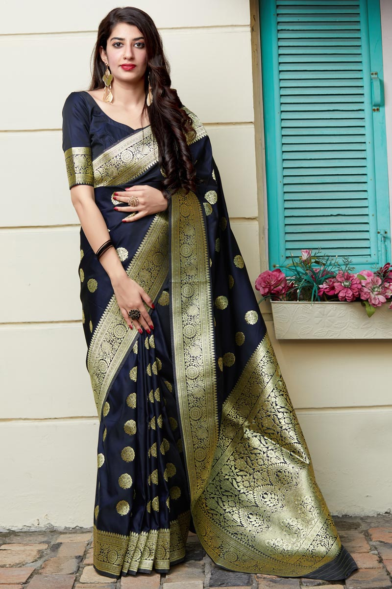 Function Wear Banarasi Silk Fabric Trendy Weaving Work Saree In Navy Blue Color