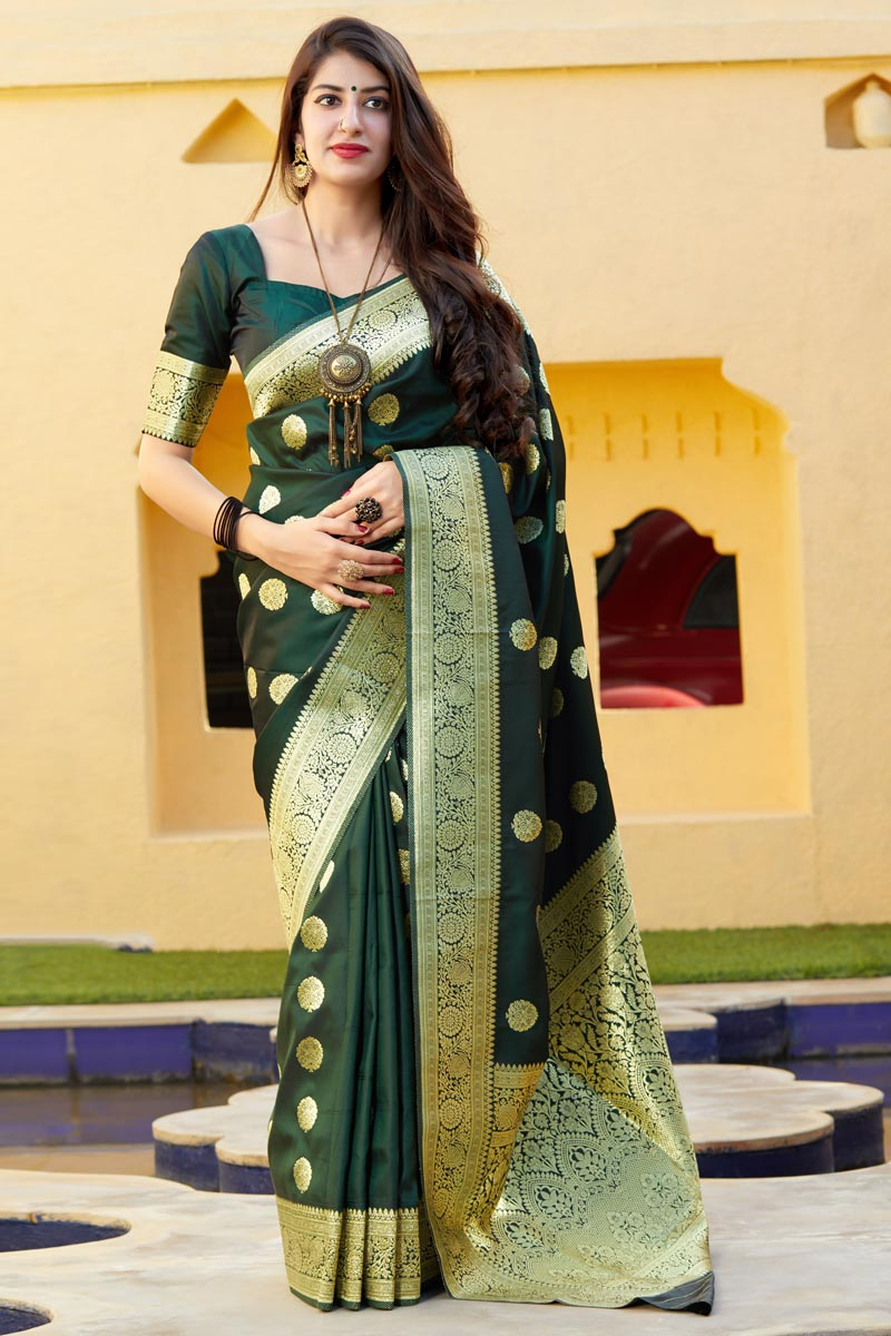 Dark Green Color Function Wear Trendy Banarasi Silk Fabric Weaving Work Saree