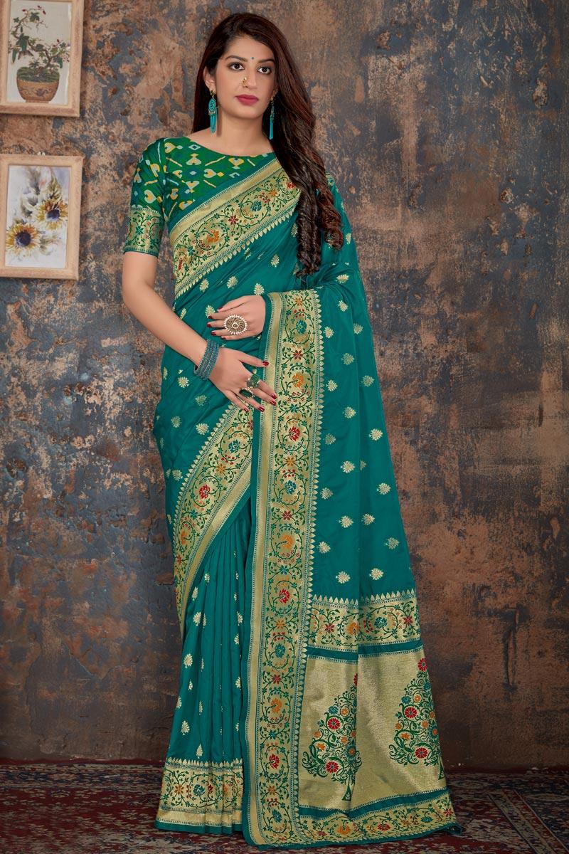 Weaving Work On Banarasi Silk Function Wear Designer Saree In Teal