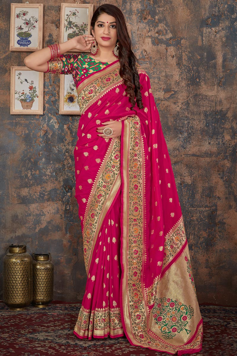 Rani Color Banarasi Silk Function Wear Designer Weaving Work Saree