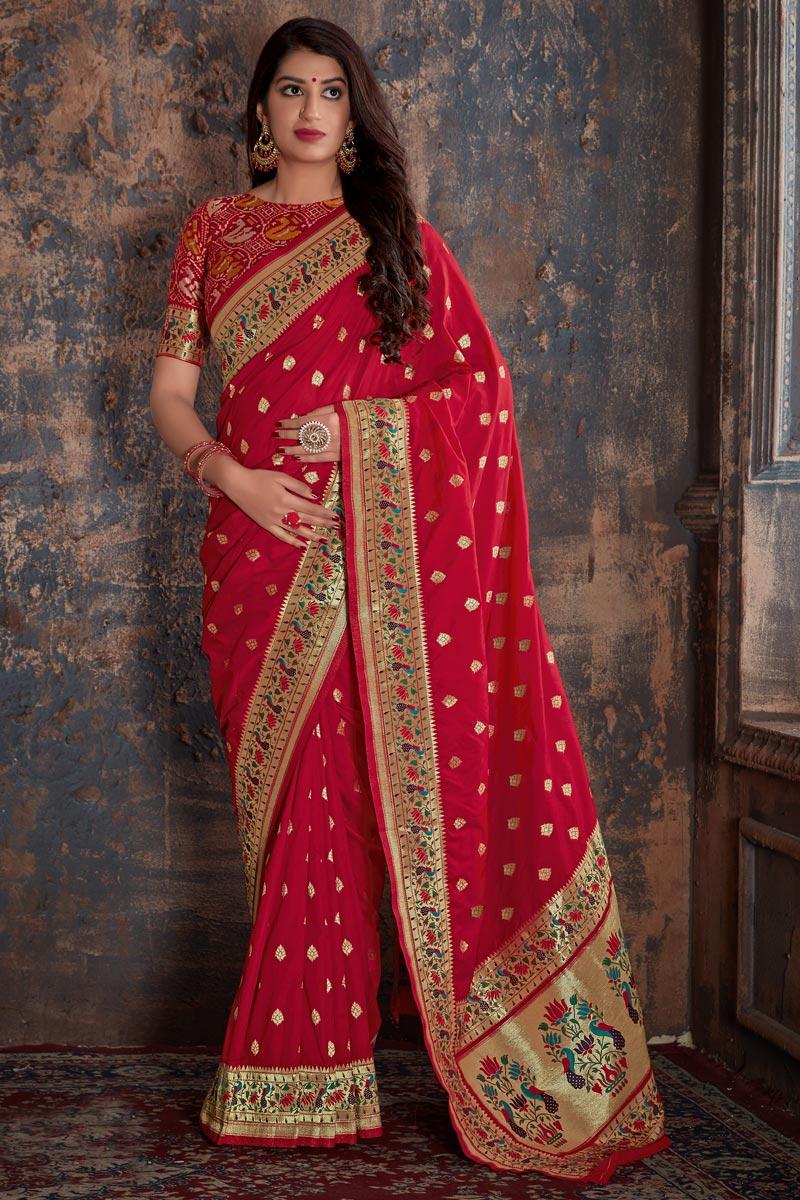 Banarasi Silk Red Function Wear Designer Weaving Work Saree