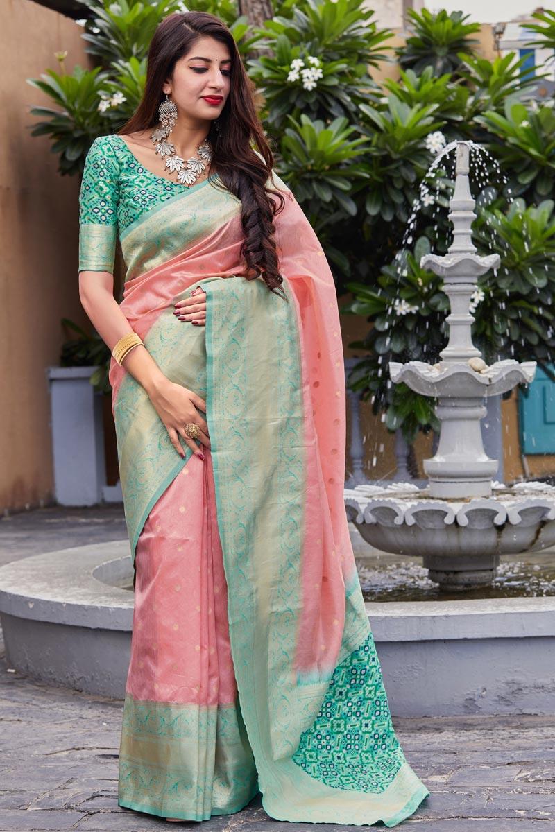 Sangeet Wear Pink Color Elegant Art Silk Fabric Weaving Work Saree