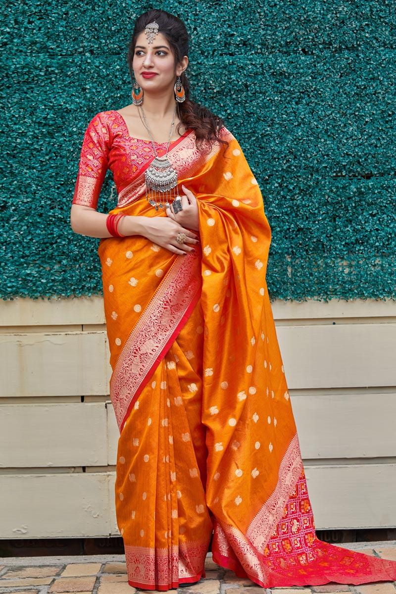 Elegant Art Silk Fabric Sangeet Wear Orange Color Weaving Work Saree