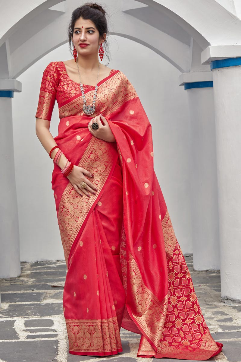 Sangeet Wear Art Silk Fabric Elegant Weaving Work Saree In Red Color