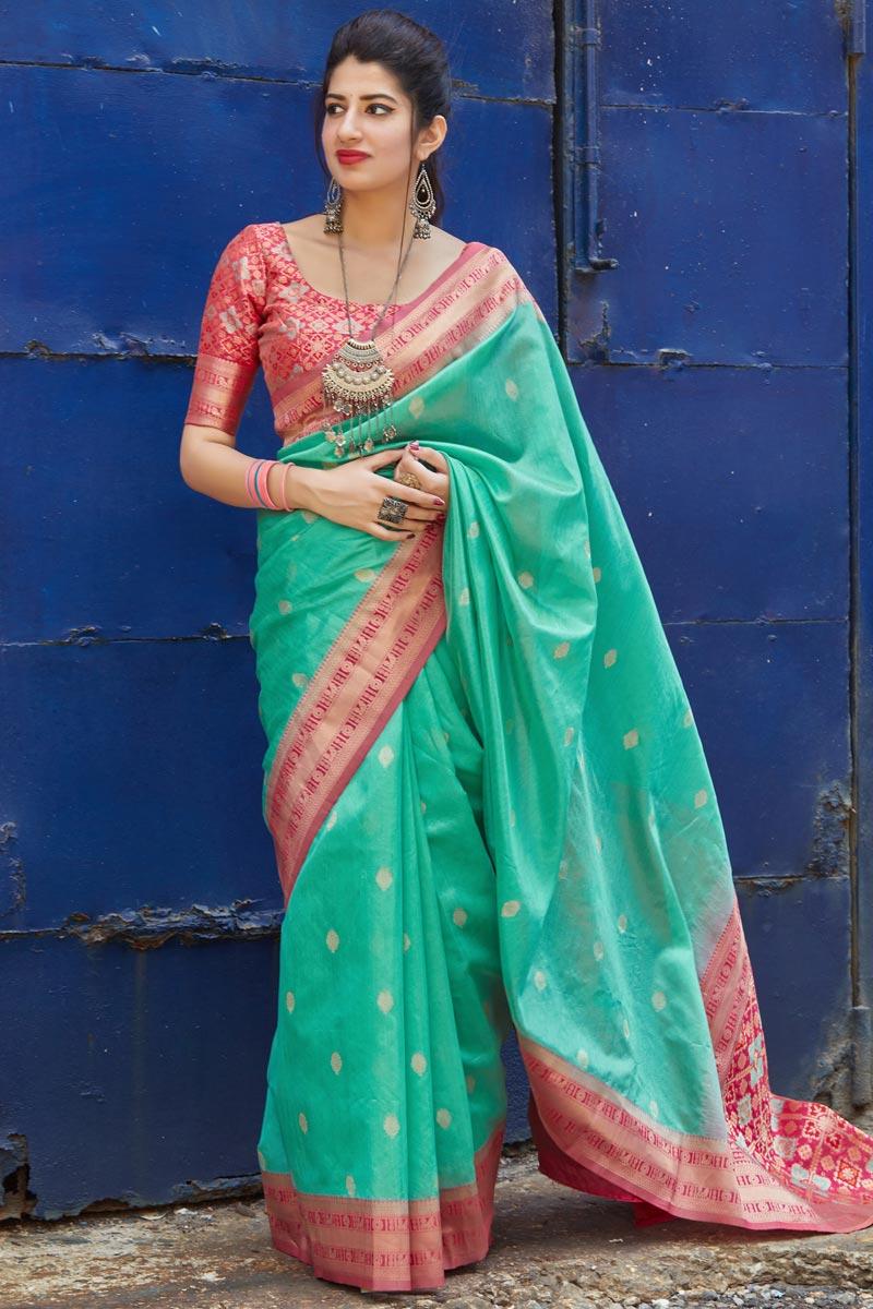 Elegant Art Silk Fabric Sangeet Wear Cyan Color Weaving Work Saree
