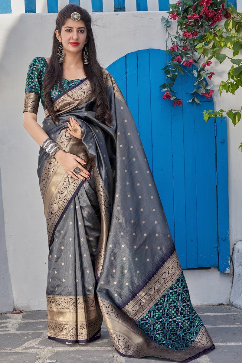 Elegant Sangeet Wear Art Silk Fabric Weaving Work Saree In Grey Color