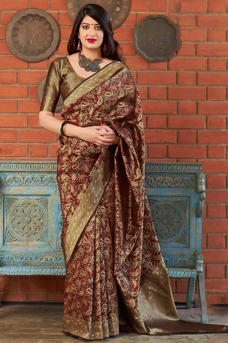 Maroon Art Silk Party Style Designer Weaving Work Saree