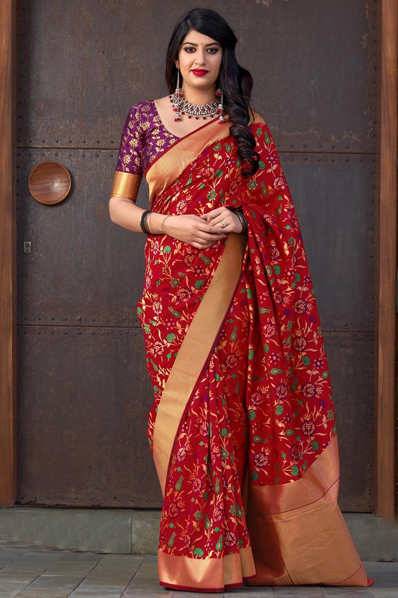 Party Style Art Silk Designer Weaving Work Saree In Red