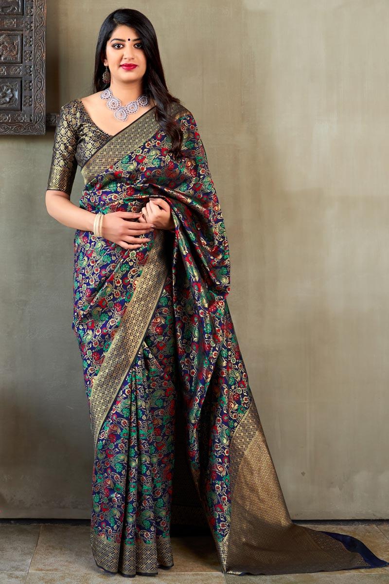 Art Silk Party Style Designer Weaving Work Navy Blue Saree