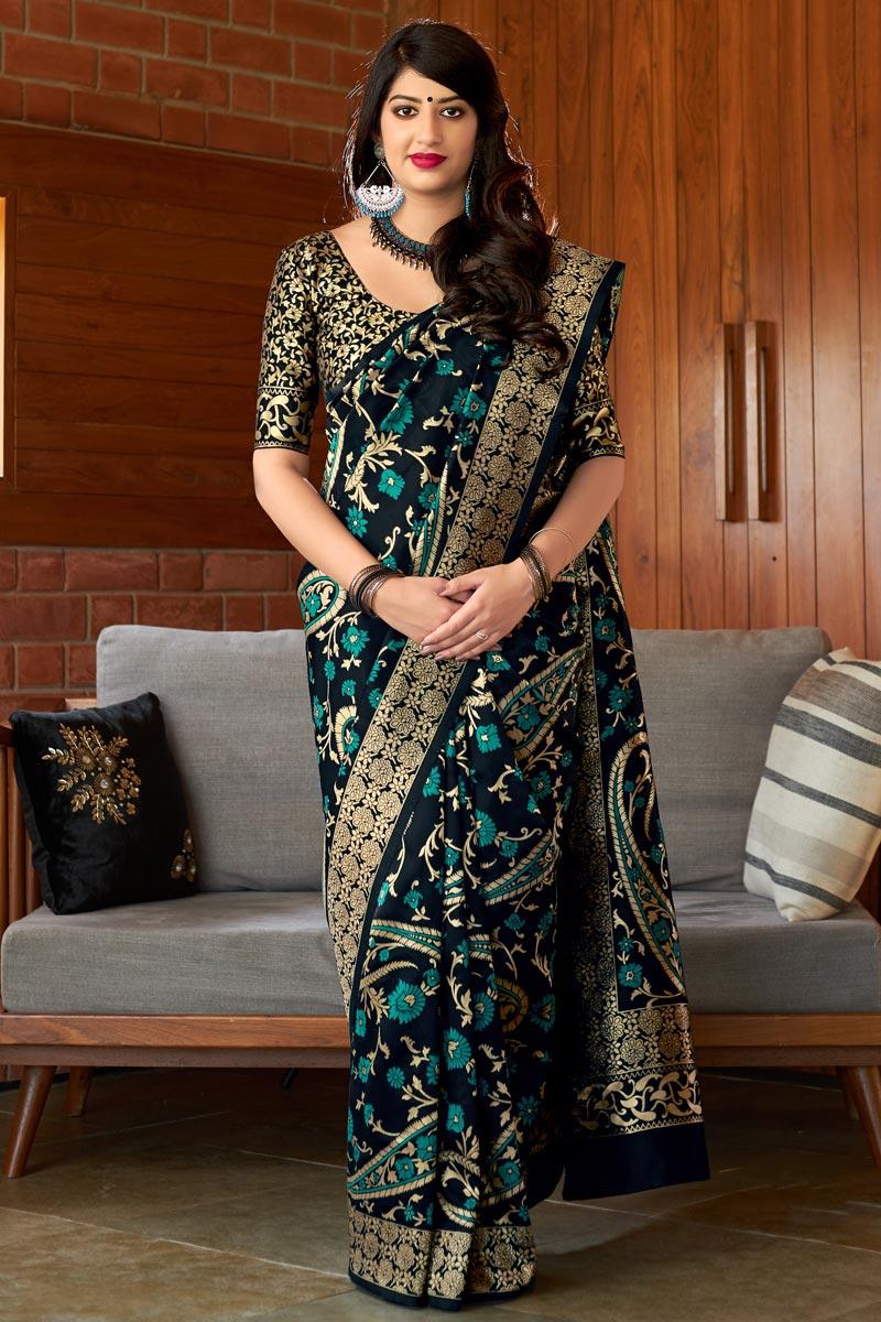 Party Style Art Silk Designer Black Weaving Work Saree