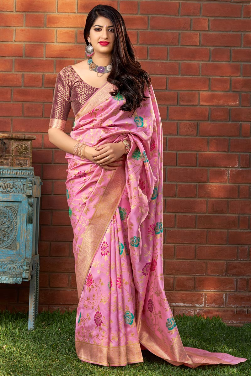 Party Style Art Silk Pink Designer Weaving Work Saree