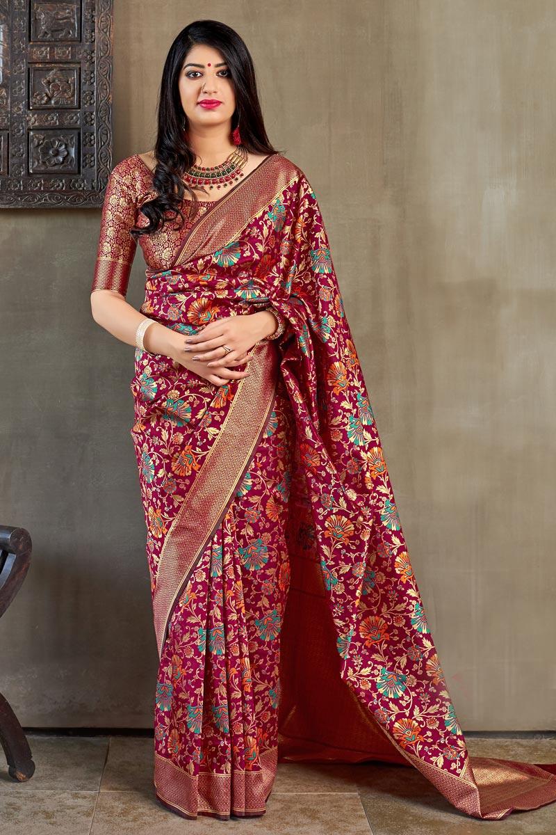 Party Style Dark Pink Designer Weaving Work Saree In Art Silk