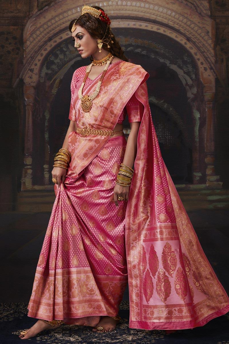 Art Silk Fabric Sangeet Wear Pink Color Weaving Work Saree