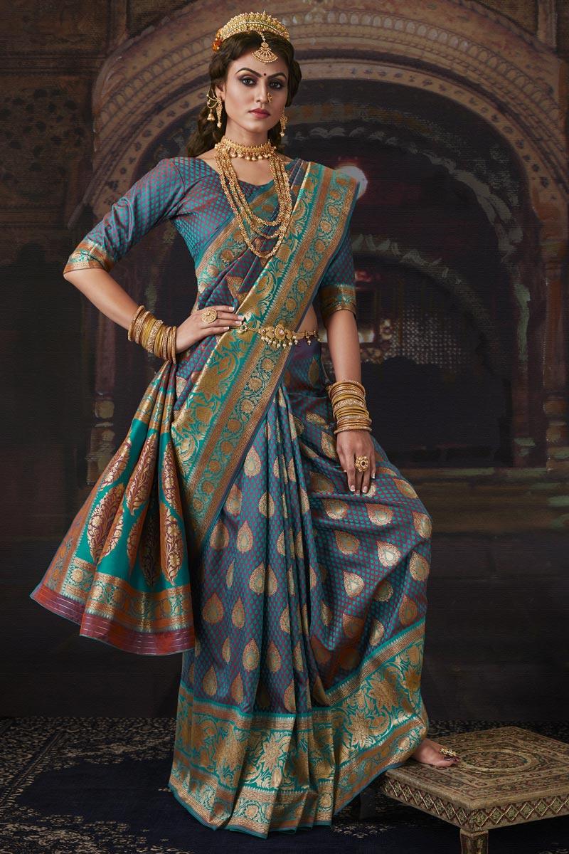 Sangeet Wear Sky Blue Color Weaving Work Saree