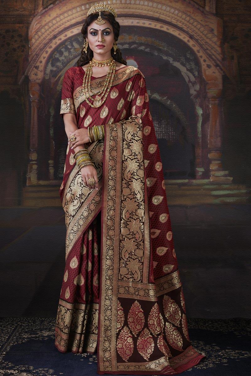 Sangeet Wear Maroon Color Art Silk Fabric Weaving Work Saree