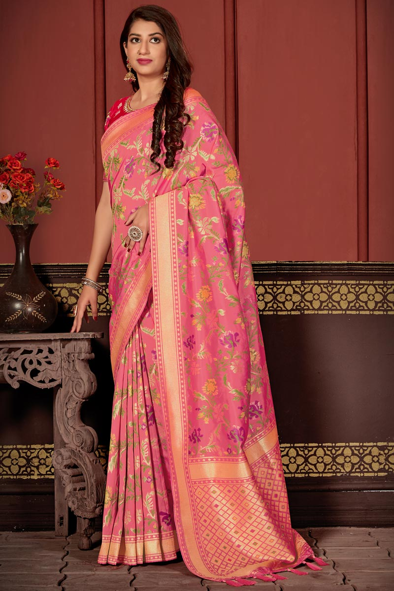 Banarasi Silk Fabric Classic Function Wear Pink Color Weaving Work Saree