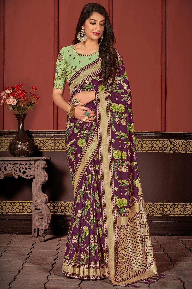 Banarasi Silk Fabric Function Wear Classic Purple Color Weaving Work Saree