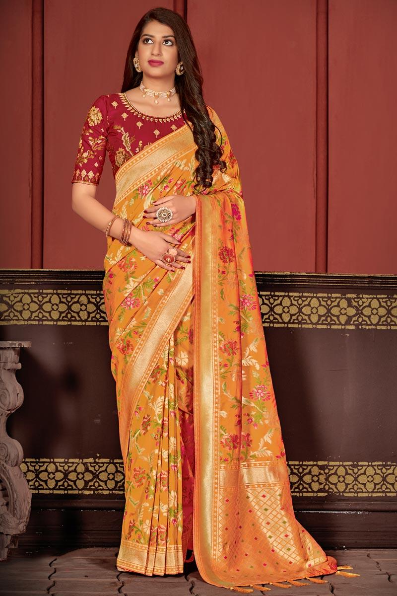Function Wear Orange Color Classic Banarasi Silk Fabric Weaving Work Saree