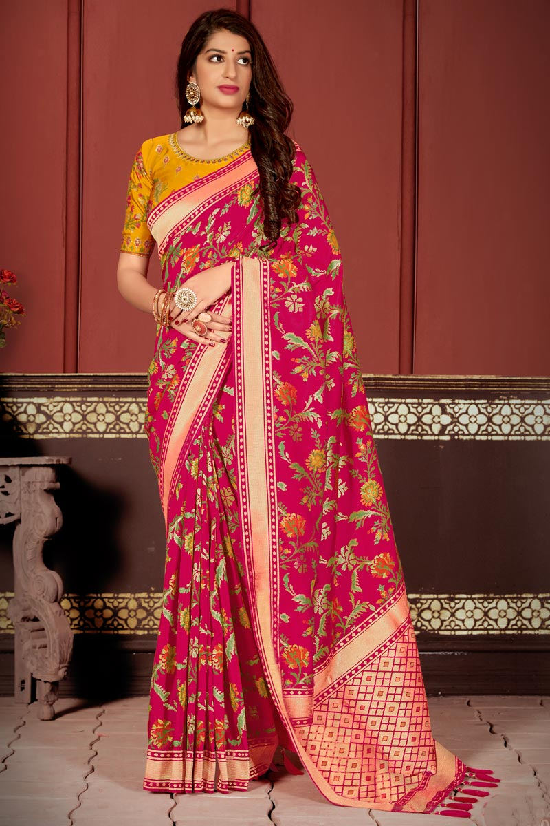 Function Wear Banarasi Silk Fabric Classic Weaving Work Saree In Rani Color