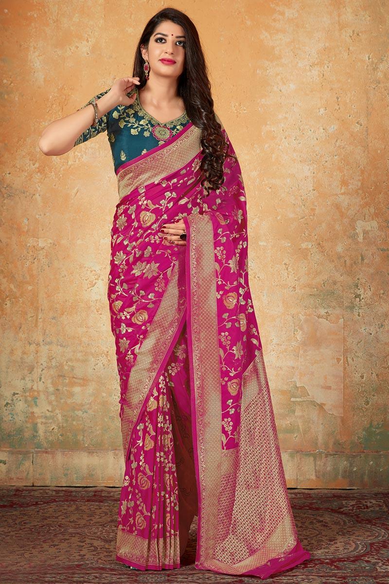 Elegant Art Silk Traditional Wear Rani Color Weaving Work Saree