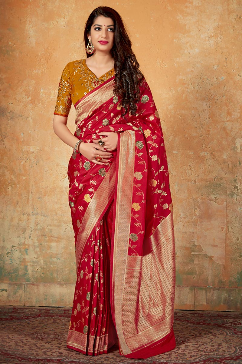 Red Elegant Art Silk Traditional Wear Weaving Work Saree