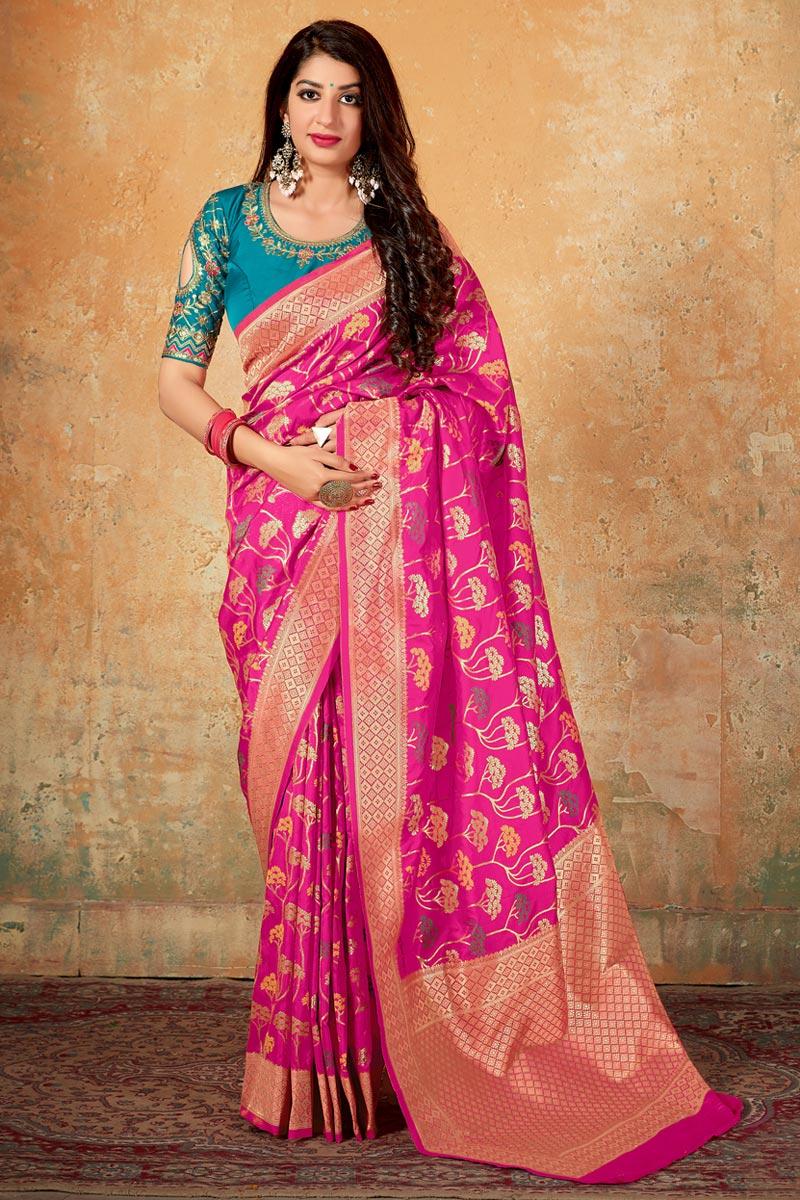 Art Silk Traditional Wear Elegant Rani Color Weaving Work Saree