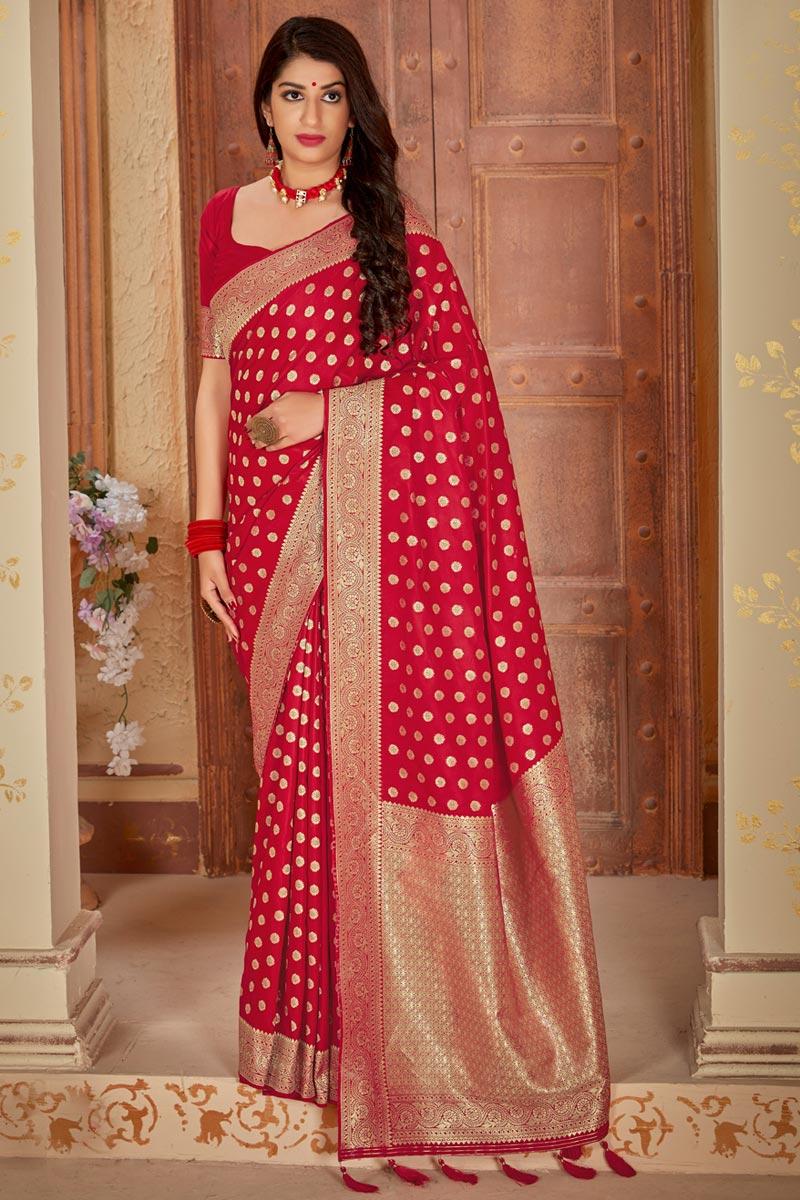 Traditional Wear Elegant Red Weaving Work Saree In Art Silk
