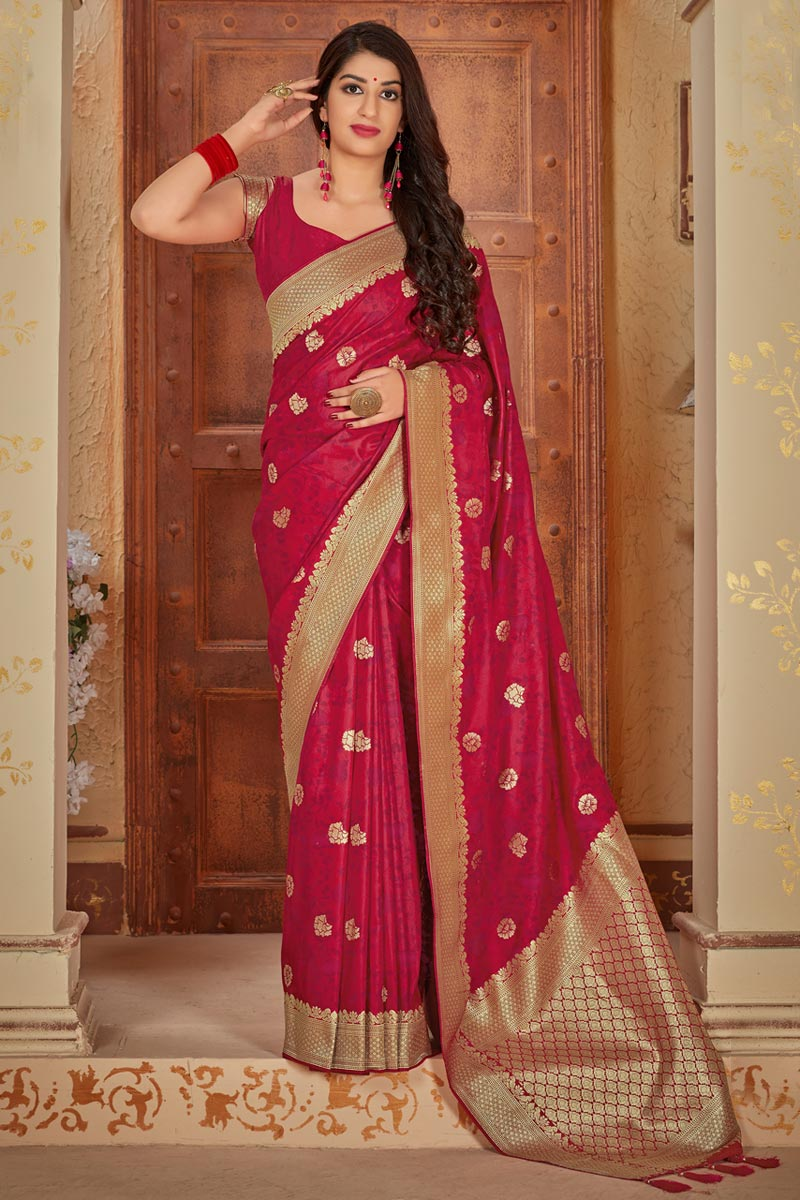 Art Silk Elegant Red Traditional Wear Weaving Work Saree
