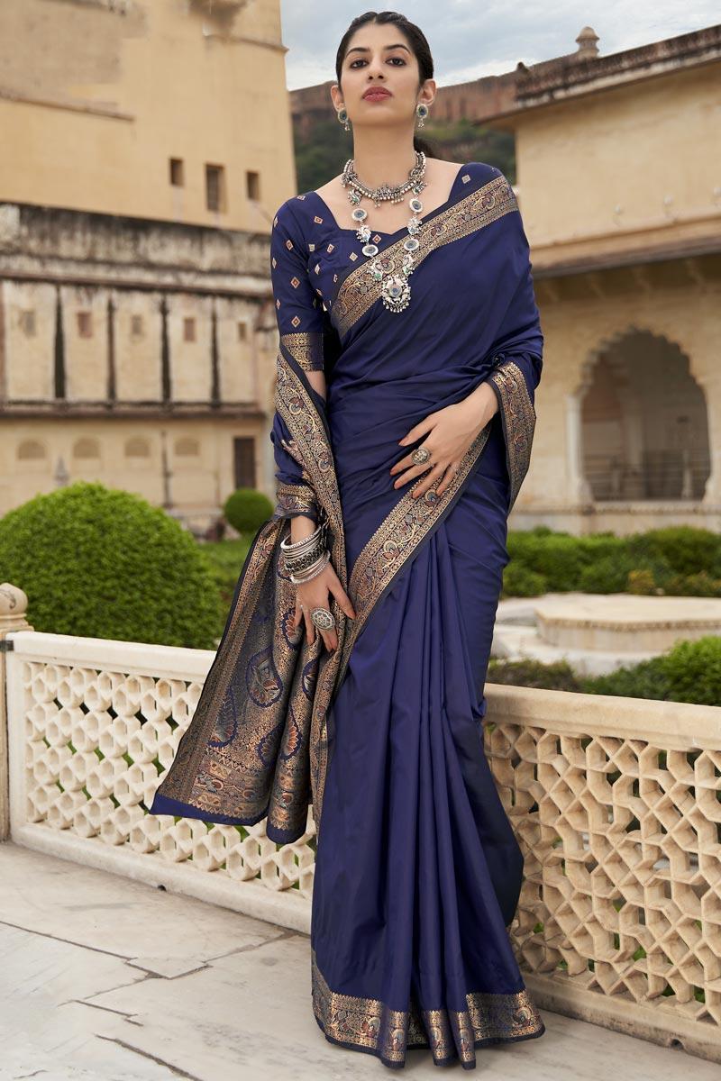 Navy Blue Color Party Wear Weaving Work Art Silk Fabric Saree
