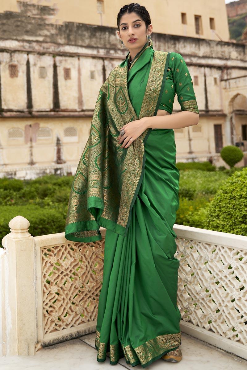 Art Silk Fabric Function Wear Green Weaving Work Saree