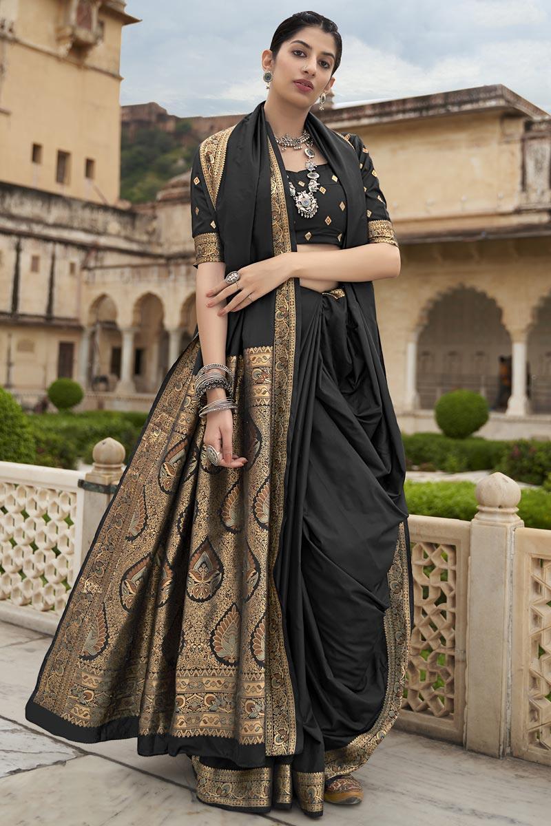 Festive Wear Art Silk Fabric Black Color Weaving Work Saree