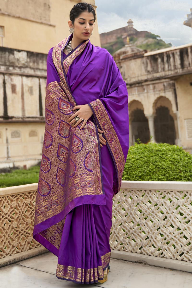Purple Color Party Style Art Silk Fabric Weaving Work Saree