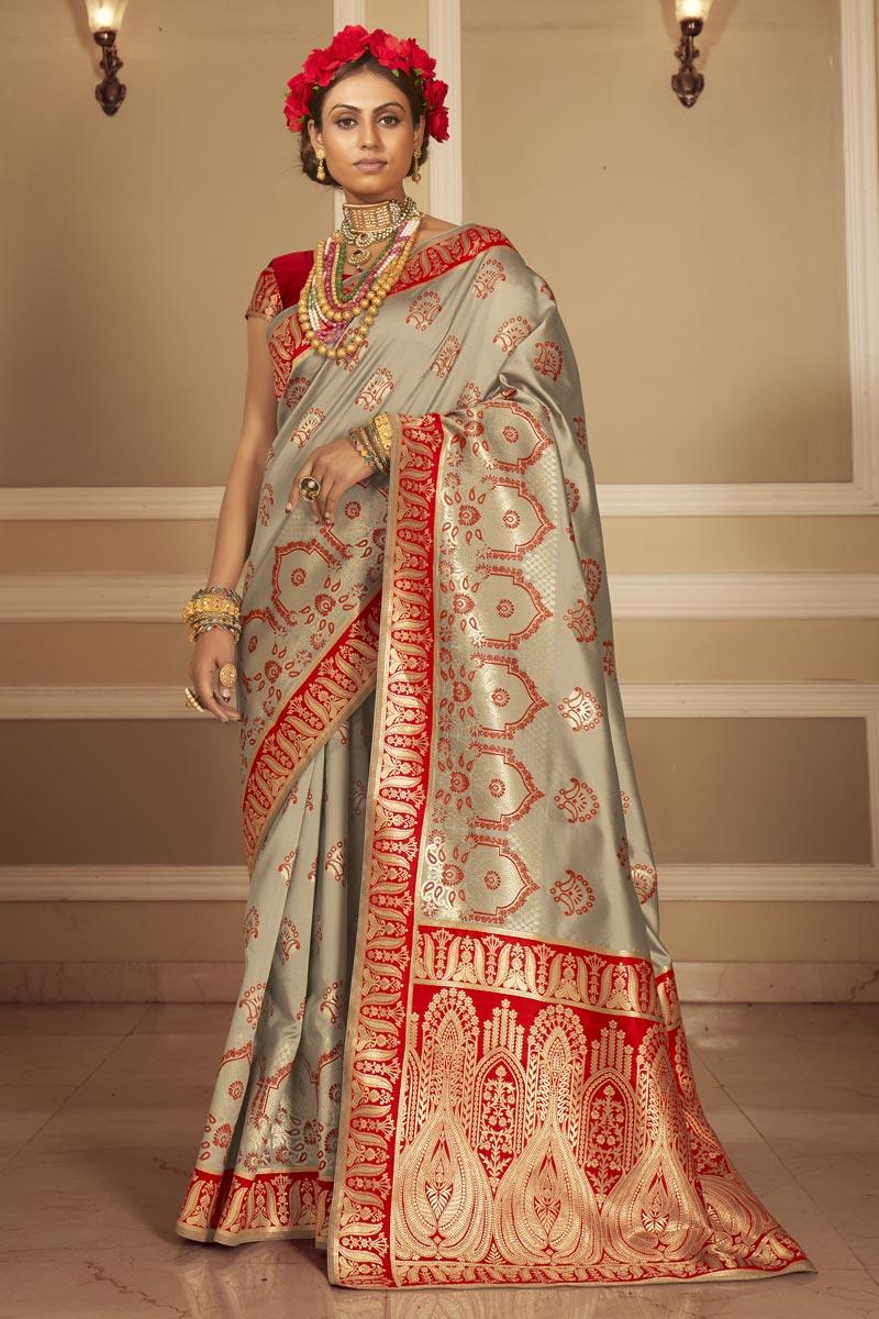 Cream Color Art Silk Fabric Party Wear Designer Weaving Work Saree