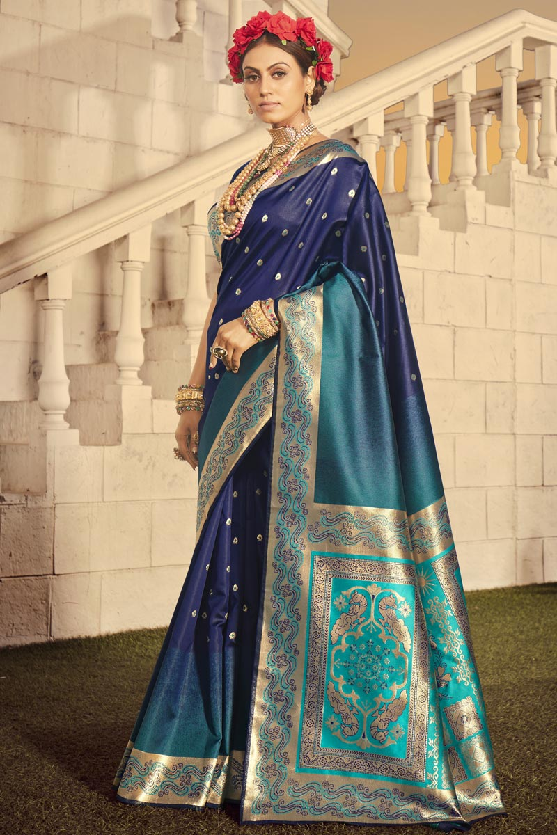 Art Silk Fabric Function Wear Weaving Work Saree In Navy Blue Color