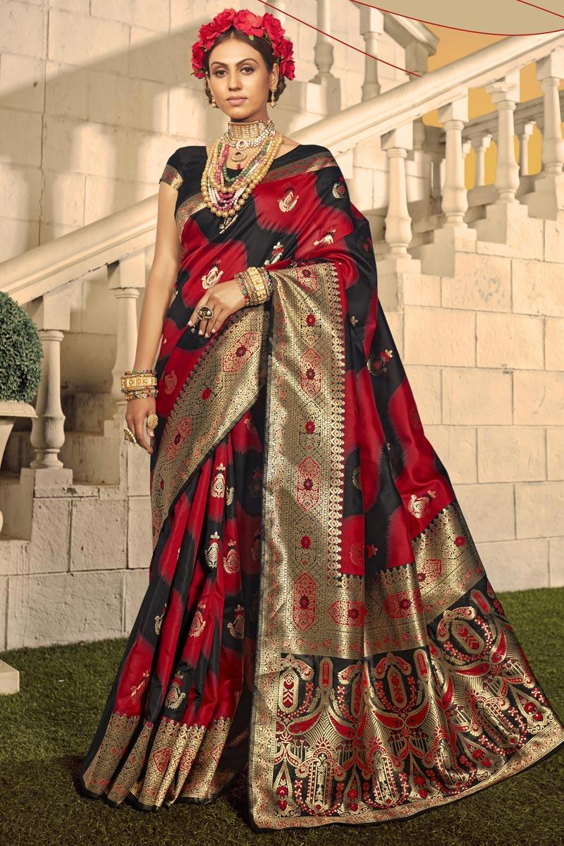 Designer Art Silk Fabric Red Color Party Wear Weaving Work Saree
