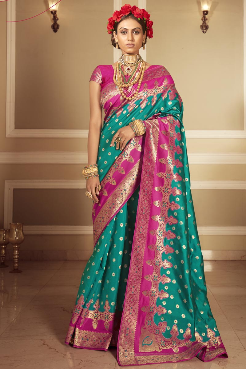 Designer Cyan Color Occasion Wear Weaving Work Saree In Art Silk Fabric