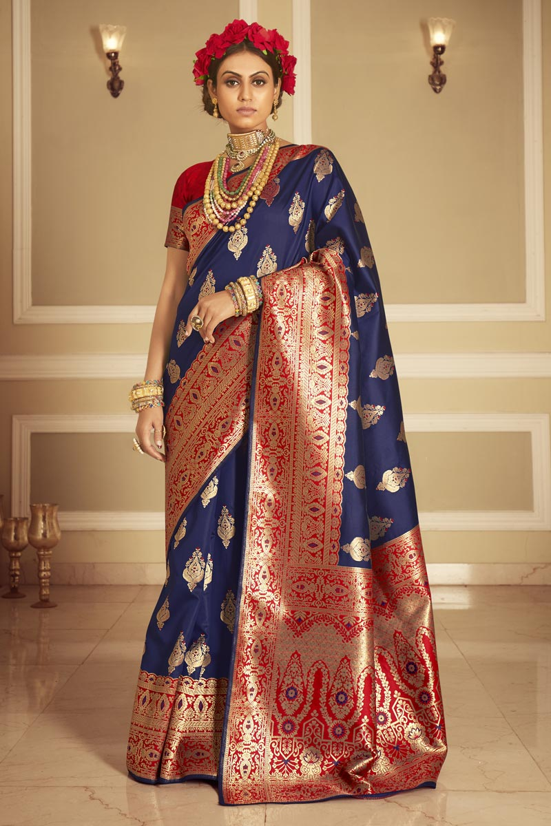Navy Blue Color Art Silk Fabric Party Wear Weaving Work Saree