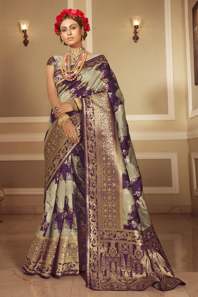 Designer Purple Color Occasion Wear Weaving Work Saree In Art Silk Fabric
