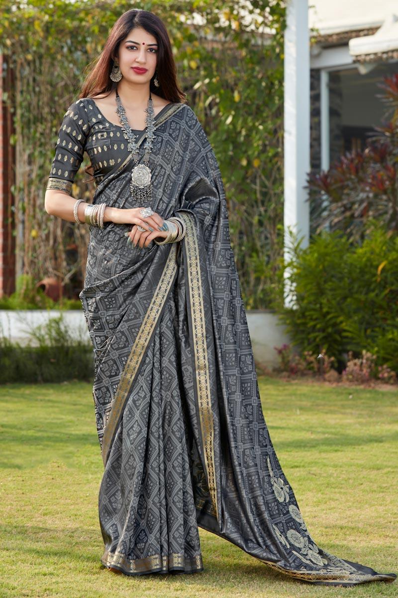 Grey Party Wear Chic Banarasi Style Art Silk Fabric Weaving Work Saree