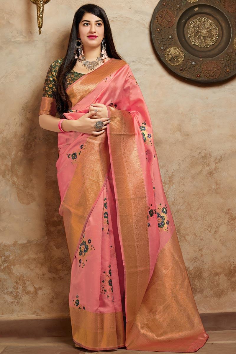 Art Silk Peach Sangeet Wear Designer Weaving Work Saree
