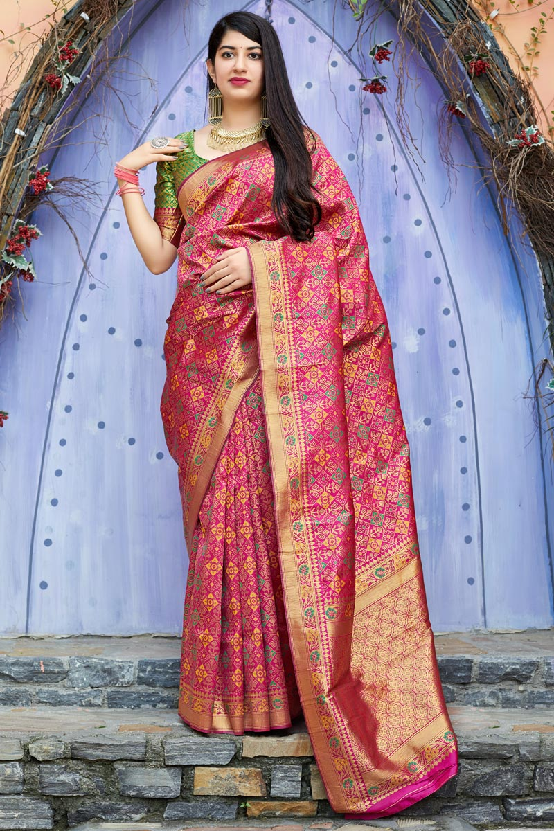 Rani Color Sangeet Wear Designer Weaving Work Saree In Art Silk