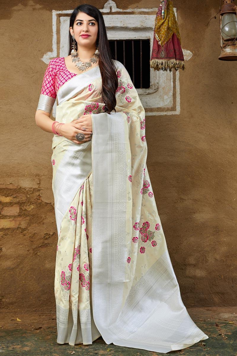 Art Silk Sangeet Wear Beige Weaving Work Designer Saree