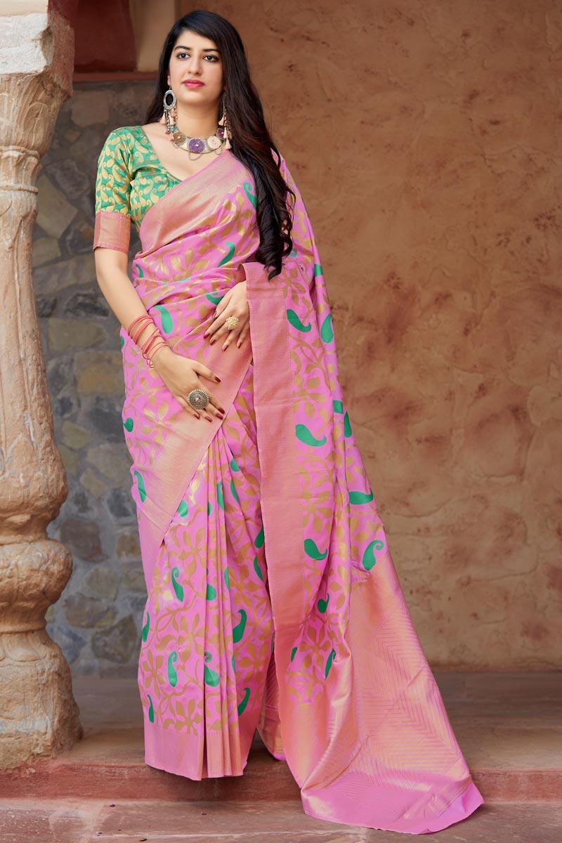 Pink Sangeet Wear Designer Art Silk Weaving Work Saree