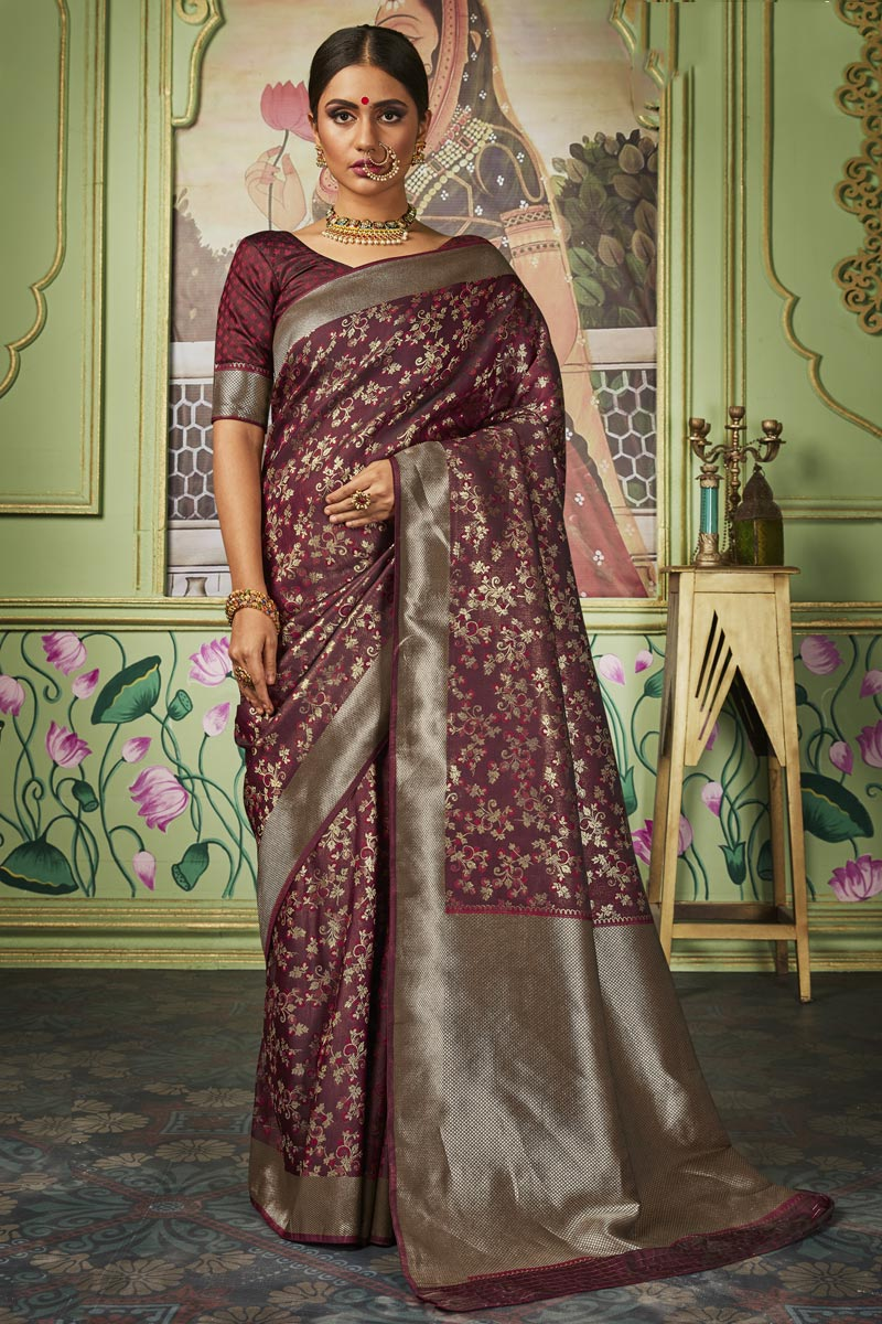 Sangeet Function Wear Maroon Color Art Silk Fabric Chic Weaving Work Saree