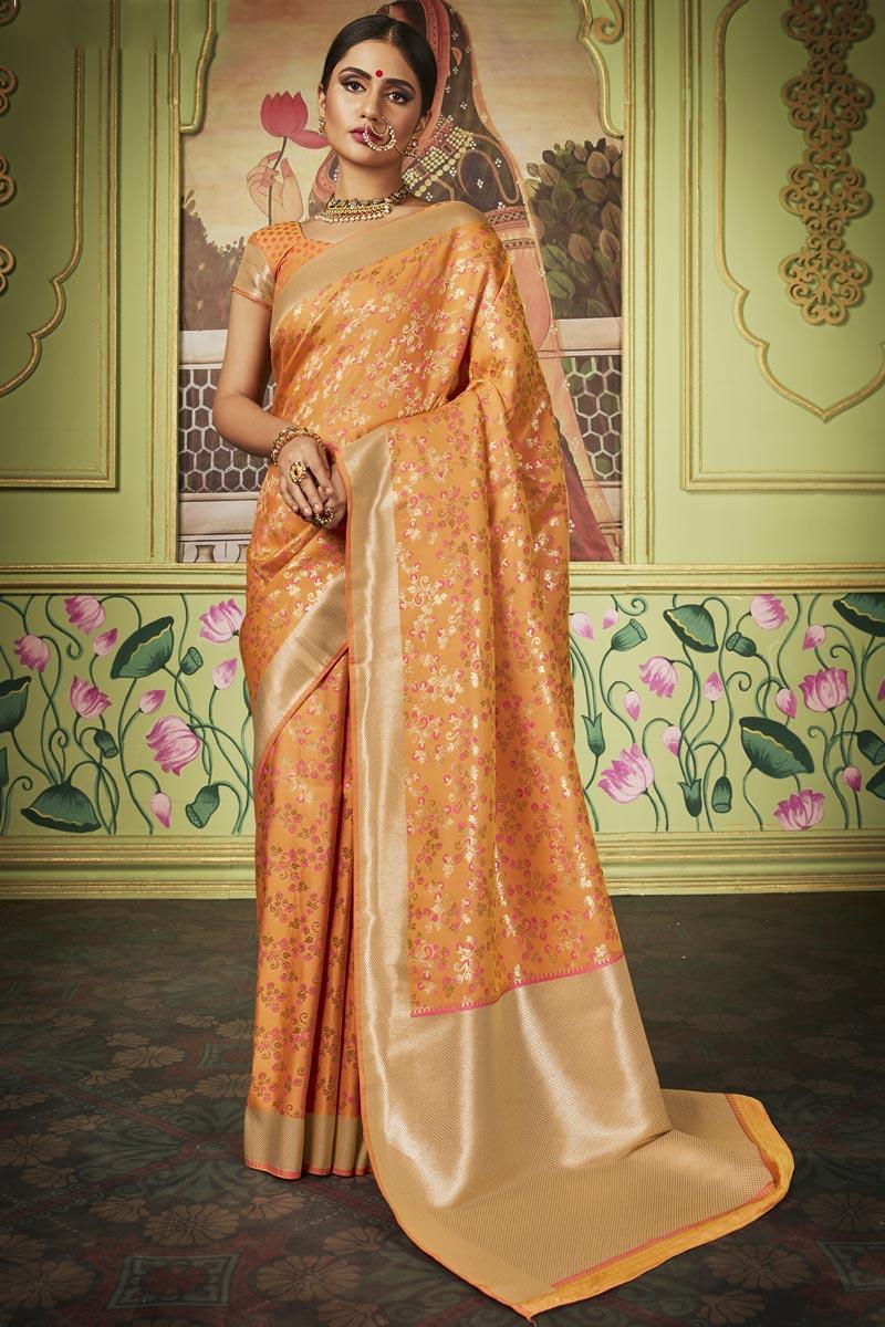 Art Silk Fabric Sangeet Function Wear Chic Orange Color Weaving Work Saree