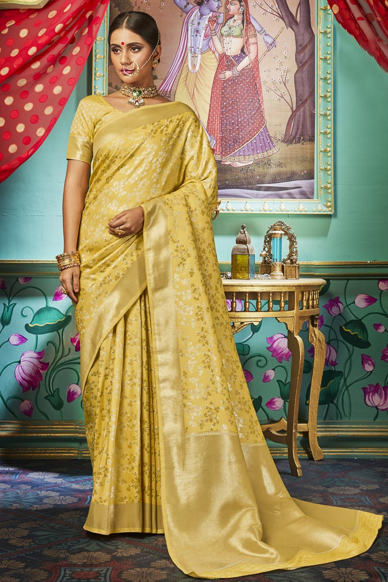 Yellow Color Sangeet Function Wear Chic Weaving Work Saree In Art Silk Fabric