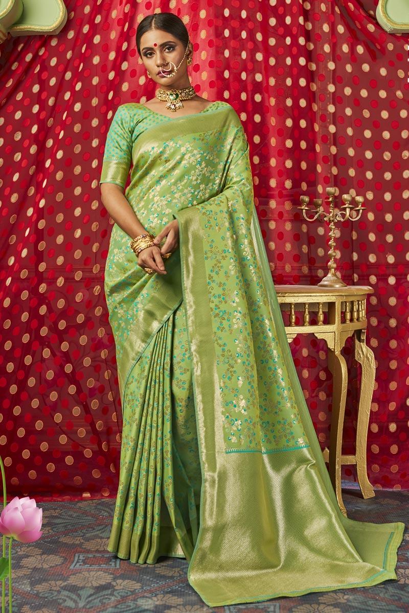 Sangeet Function Wear Art Silk Fabric Chic Weaving Work Saree In Sea Green Color